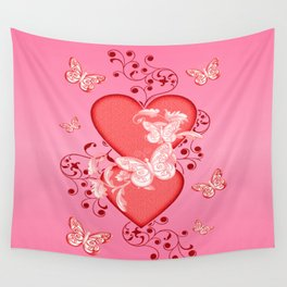 Butterflies and Hearts Wall Tapestry
