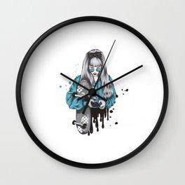 Skate girl design. Gift for skaters. Wall Clock