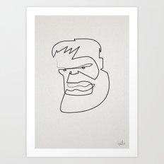 Oneline Hulk Art Print