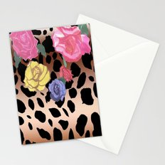Gradient Leopard and Roses Stationery Cards