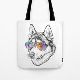 Husky Dog Graphic Art Print. Husky in glasses Tote Bag