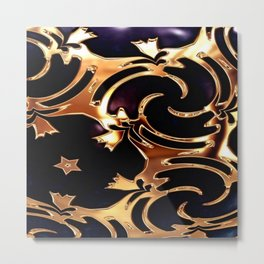 Wrap it up, Blue and Gold Metal Print