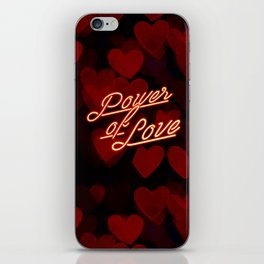 Inspirational love quotes retro neon sign, Valentine's red black hearts bokeh pattern iPhone Skin