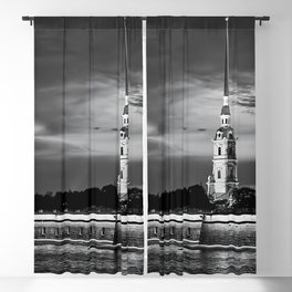 Peter And Paul Fortress at night, downtown, center of St. Petersburg, summer day, dramatic sky, clouds, river embankment, black and white (St. Petersburg, Russia) (2012-7SPBBW2) Blackout Curtain