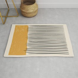 Mid Century Modern Minimalist Rothko Inspired Color Field With Lines Geometric Style Rug