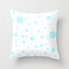 Mixed Polka Dots - Celeste Cyan on White Throw Pillow