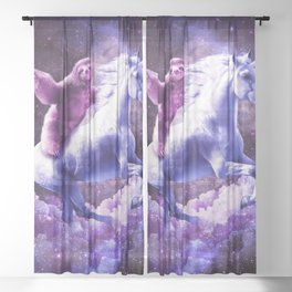 Space Sloth Riding On Unicorn Sheer Curtain