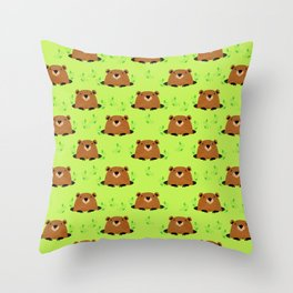 Adorable Groundhog Pattern Throw Pillow