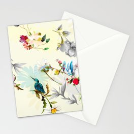 Red flowers, leaves and birds around on light yellow Stationery Cards