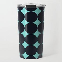 Large Black Dots on Aqua Travel Mug