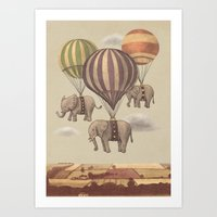 illustration Art Prints featuring Flight of the Elephants  by Terry Fan