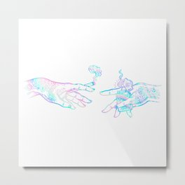 the creation of weed- holographic Metal Print