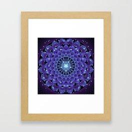 Accordant Electric Blue Fractal Flower Mandala Framed Art Print