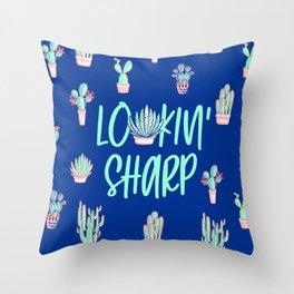 Lookin' sharp Cactus pattern - blue Throw Pillow