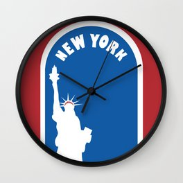 New York City, New York - Skyline Illustration by Loose Petals Wall Clock