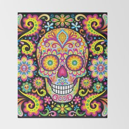 Sugar Skull Art (Spark) Throw Blanket