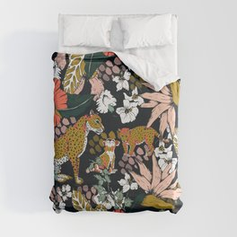 Animal print dark jungle Duvet Cover
