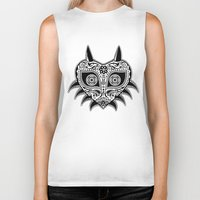 majoras mask Biker Tanks featuring Sugarskull / Majoras mask / black'n'white by tshirtsz