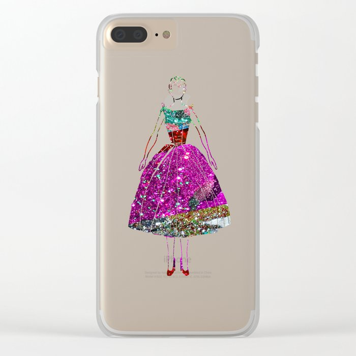 Audrey OZ Stardust Pink Glitter Dress Clear iPhone Case