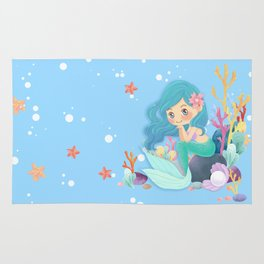Cute Mermaid pink and blue Rug