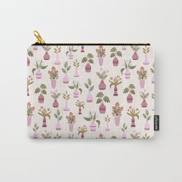 Flowers and leaf plants in vases pattern Carry-All Pouch