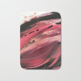 Entangled [2]: a vibrant, colorful abstract mixed-media piece in reds, pinks, black and white Bath Mat