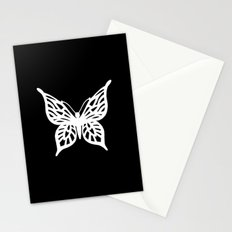 Butterfly White on Black Stationery Cards