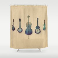 justin timberlake Shower Curtains featuring Good Company by Amy Hamilton