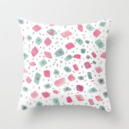 Hand painted pink pastel green watercolor brushstrokes confetti Throw Pillow