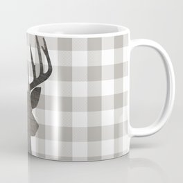 Rustic Farmhouse Decor, Stag Deer, Gingham Pattern, Grey and White Coffee Mug