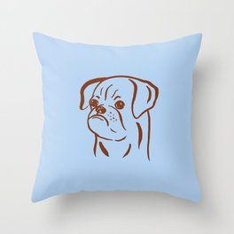 Petit Brabancon (Blue and Brown) Throw Pillow