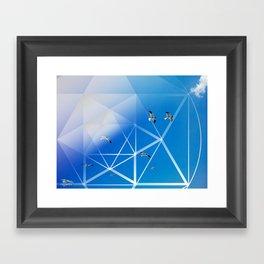 Gulls in Hexagram Flight Framed Art Print