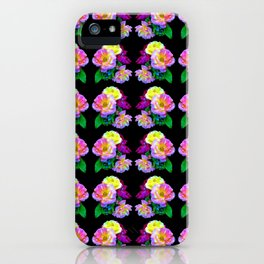 Rosa Yellow Roses on Black Pattern iPhone Case
