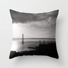 Sunrise at Bay Bridge Throw Pillow