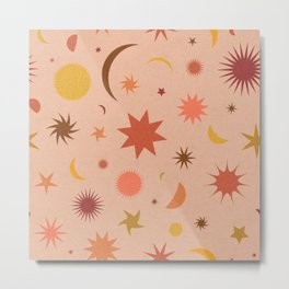 Celestial Sky in Grainy Peach Metal Print