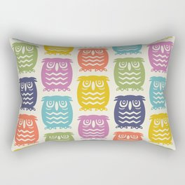 Mid Century Owl Pattern Multi-Color 22 Rectangular Pillow