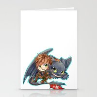 hiccup Stationery Cards featuring Httyd 2 - Chibi Hiccup and Toothless by ibahibut