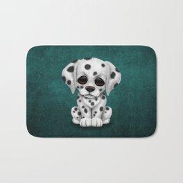 Cute Dalmatian Puppy Dog on Blue Bath Mat