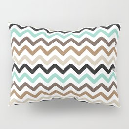 Aqua, Brown, and Black Chevron Stripes Pillow Sham