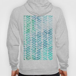Handpainted Chevron pattern - light green and aqua - stripes Hoody