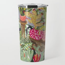 Black cat in the Garden Travel Mug