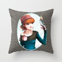 et Throw Pillows featuring Rose et l'oiseau by Ludovic Jacqz