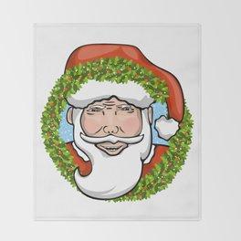 Santa Claus Wreath Throw Blanket
