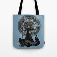 "discworld Tote Bags featuring Eskarina  by Barbora ""Mad Alice"" Urbankova"