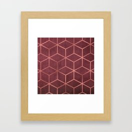 Pink and Rose Gold - Geometric Textured Gradient Cube Design Framed Art Print