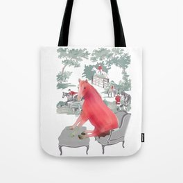 Farm Animals in Chairs #5 Horse Tote Bag