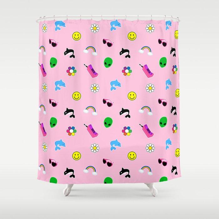 90s Stuff Print Shower Curtain