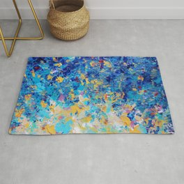 HYPNOTIC BLUE SUNSET - Simply Beautiful Royal Blue Navy Turquoise Aqua Sunrise Abstract Nature Decor Rug