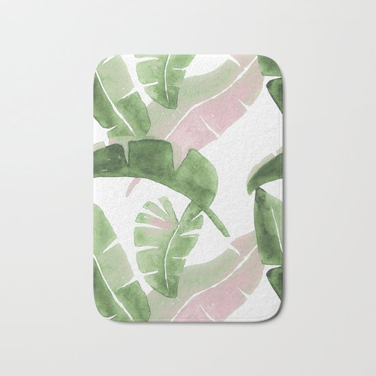 Tropical Leaves Green And Pink Bath Mat