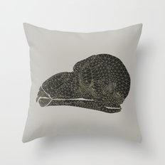 Owl Skull Grid Throw Pillow